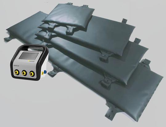 Equipo de control Alphacore y mantas de distintos tamaños